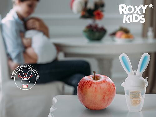 Ниблер Roxy Kids для прикорма Bunny Twist силиконовый Голубой (17)