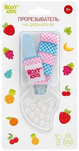 Прорезыватель Roxy Kids на держателе Голубой с Розовой клеткой (9)