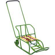 Санки складные, с переставным толкателем, колесами, подножкой, складной спинкой Зеленые