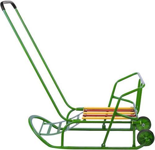 Санки складные, с переставным толкателем, колесами, подножкой, складной спинкой Зеленые (7)