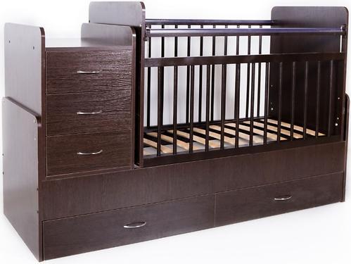 Кровать-трансформер детская Bambini M 01 10 01 Темный орех (4)