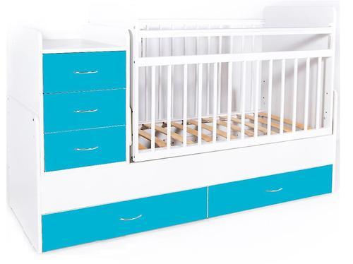 Кровать-трансформер детская Bambini M 01 10 01 Бело-Голубой фасад МДФ (4)