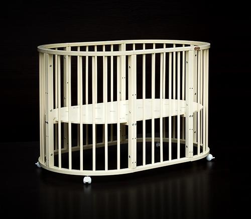 Кроватка детская Bambini овальная М 01.10.14 Слоновая кость (11)