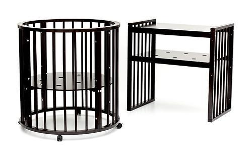 Кроватка детская Bambini овальная с маятником М 01.10.14 Темный Орех (12)
