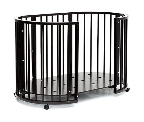 Кроватка детская Bambini овальная с маятником М 01.10.14 Темный Орех (16)