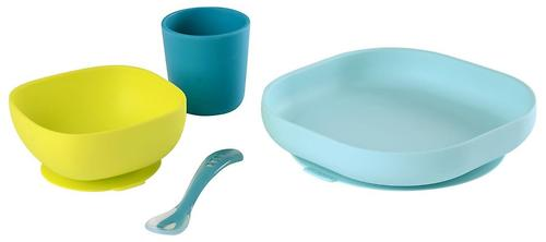 Набор посуды Beaba SILICONE MEAL SET Blue (4)