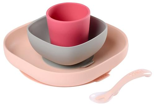 Набор посуды Beaba SILICONE MEAL SET Pink (1)
