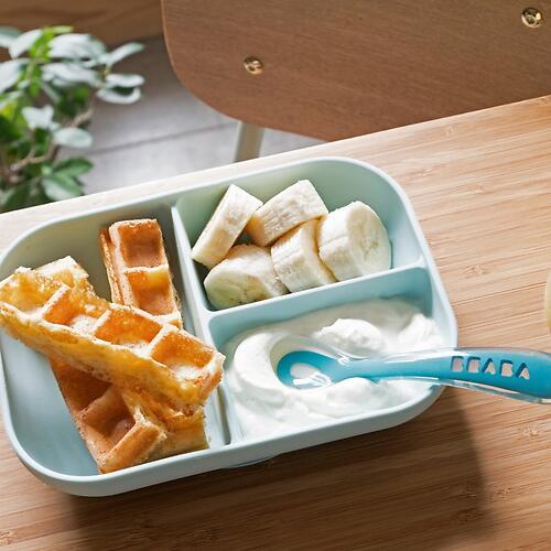 Набор посуды Beaba тарелка и ложка Set Repas Silicone Avec Ventouse Bleu (4)