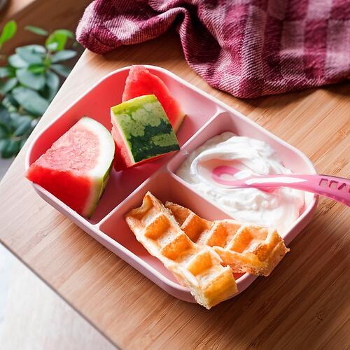 Набор посуды Beaba тарелка, ложка Set Repas Silicone Avec Ventouse Rose (4)