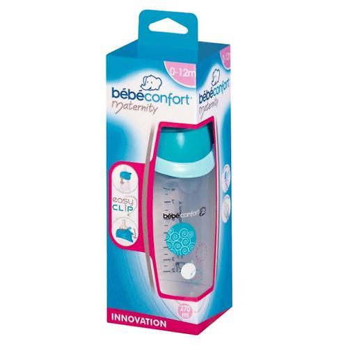 Бутылочка Bebe Confort 270 пластиковая 0-12 м 3*1 Easy Clip голубая (5)