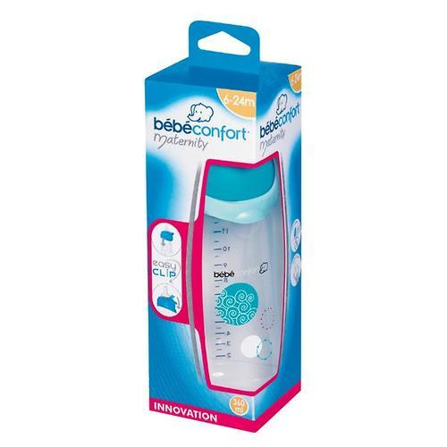 Бутылочка Bebe Confort 360мл пластиковая 6-24 мес 3*1 Easy Clip голубая (5)