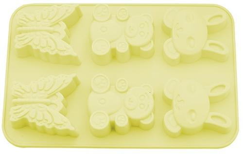 Форма Fissman для выпечки 6 кексов Зайчик, Мишка, Бабочка (силикон) 6674 (1)