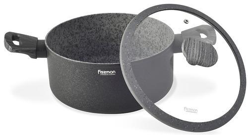 Кастрюля Fissman Charm Stone 28x13 см / 7,6 л со стеклянной крышкой с индукционным дном (алюминий с антипригарным покрытием) 5027 (1)