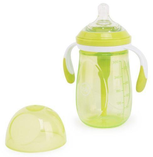 Бутылочка Happy Baby антиколиковая с ручками и силиконовой соской 300 мл 10020 Lime (4)