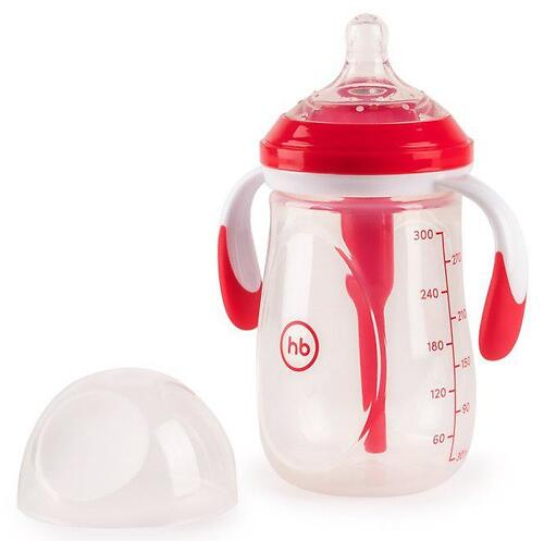 Бутылочка Happy Baby антиколиковая с ручками и силиконовой соской 300 мл 10020 Ruby (4)