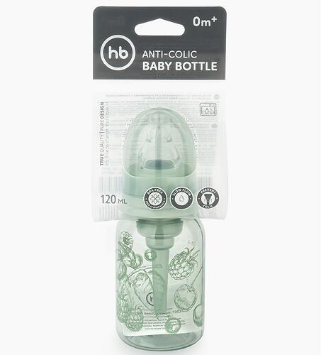 Бутылочка Happy Baby антиколиковая с силиконовой соской медлен. поток 120 мл Olive (8)