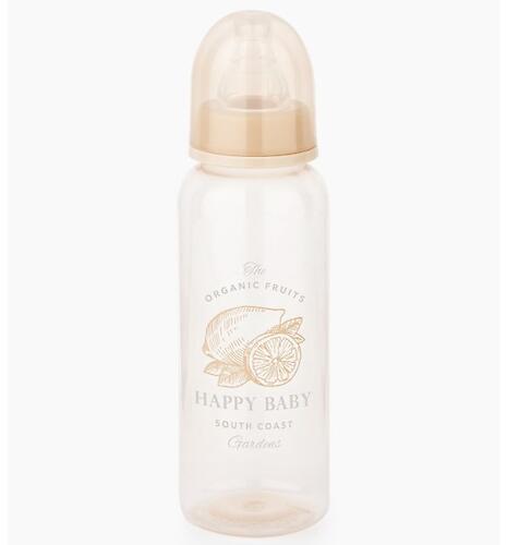 Бутылочка Happy Baby антиколиковая с силиконовыми сосками средн. поток 250 мл Beige (4)
