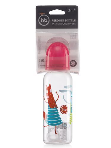 Бутылочка Happy Baby антиколиковая с силиконовыми сосками средн. поток 250 мл Ruby (6)