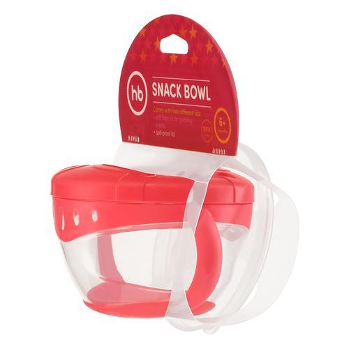 Тарелка с двумя крышками Happy Baby Snack Bowl Red (9)