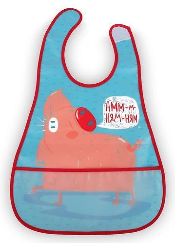 Нагрудник Happy Baby на липучке 16005 Свинка (1)