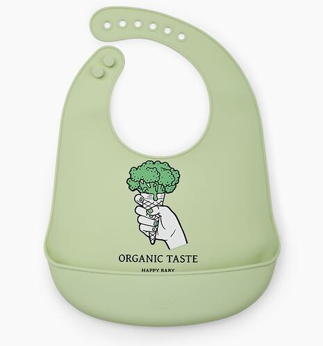 Нагрудник Happy Baby силиконовый Soft Silicone Bib Green (7)