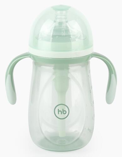 Бутылочка Happy Baby антиколиковая с ручками и силиконовой соской 300 мл 10020 Olive (5)