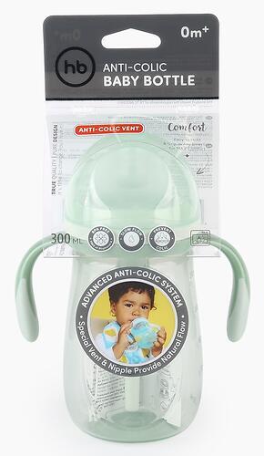 Бутылочка Happy Baby антиколиковая с ручками и силиконовой соской 300 мл 10020 Olive (8)