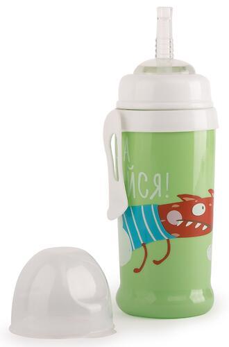 Поильник Happy Baby для кормления с трубочкой и прищепкой 360мл 14015 Grass (4)