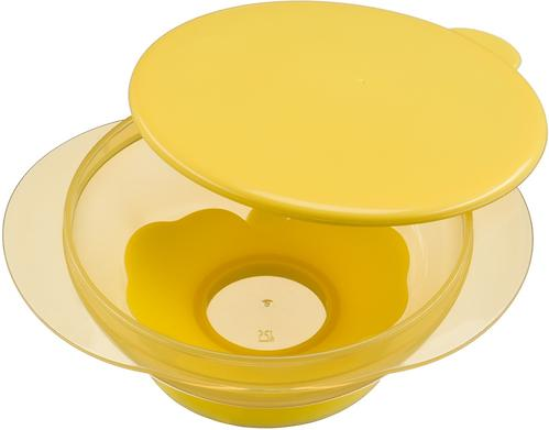 Тарелочка детская на присоске с крышкой Happy baby Feeding Bowl Yellow (5)