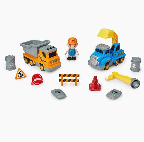 Игрушка дорожная техника с аксессуарами Happy Baby Magnetic Engineer Set Blue and Yellow 331870 (9)