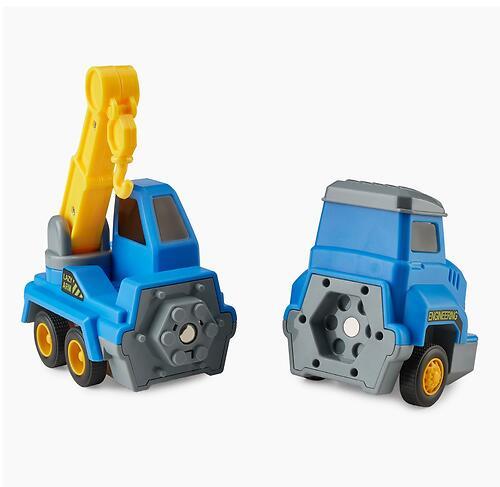 Игрушка дорожная техника с аксессуарами Happy Baby Magnetic Engineer Set Blue and Yellow 331870 (13)