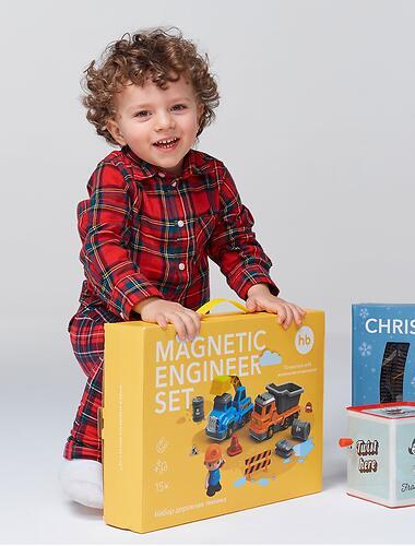 Игрушка дорожная техника с аксессуарами Happy Baby Magnetic Engineer Set Blue and Yellow 331870 (15)