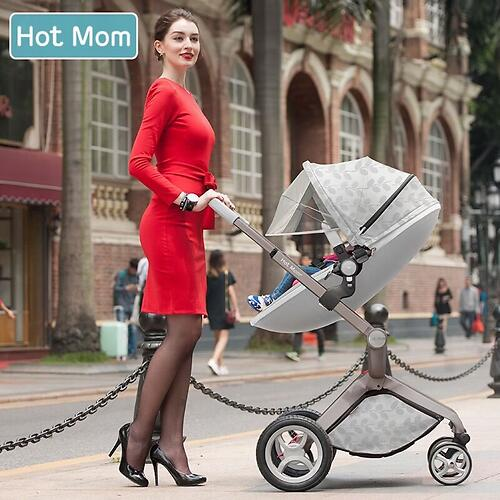 Коляска 2в1 Hot Mom экокожа Flower Leather (11)