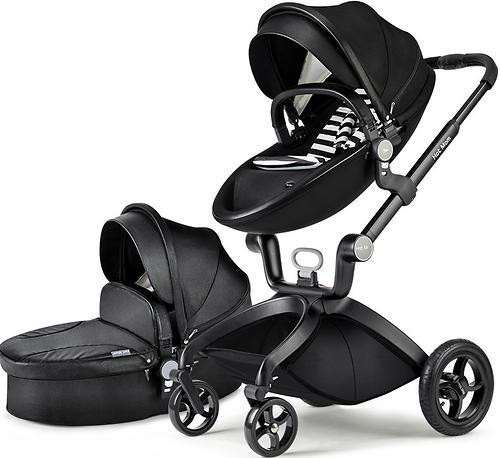 Коляска 2 в1 Hot Mom экокожа Black Leather (5)