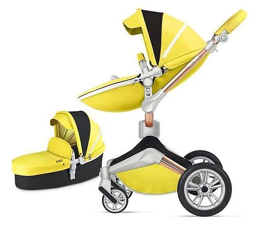 Коляска 2в1 Hot Mom экокожа Yellow (6)
