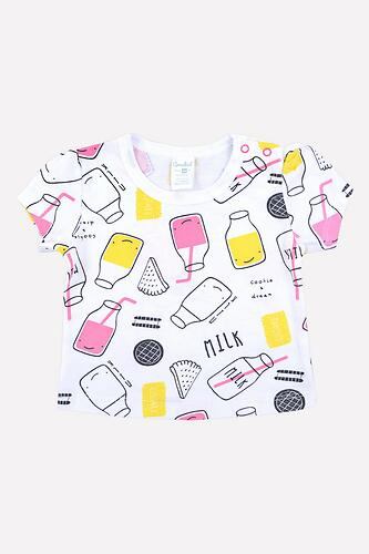 Футболка для девочки Crockid (К 3698/розовые бутылочки на белом) (1)