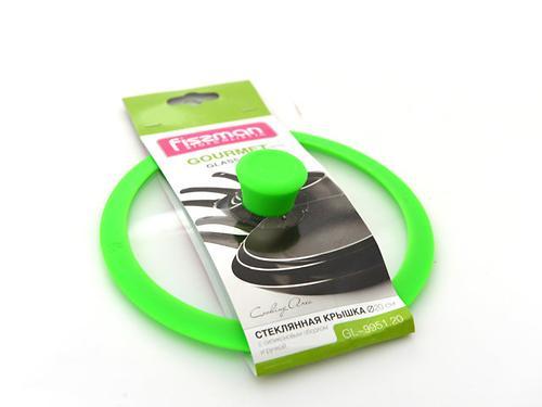 Стеклянная крышка GOURMET 20 см с зеленым силиконовым ободком Fissman 9951 (1)