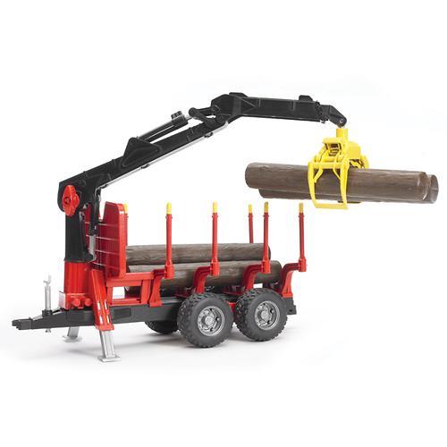 Прицеп для перевозки леса с манипулятором и брёвнами (4)