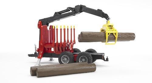 Прицеп для перевозки леса с манипулятором и брёвнами (5)