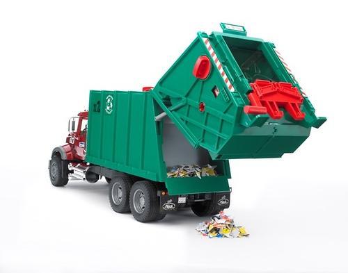 Мусоровоз MACK (зелёный фургон, красная кабина) (8)