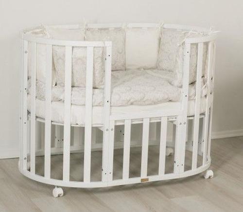 Кроватка-трансформер 7в1 Uomo Da Vinci овальная Белая (7)