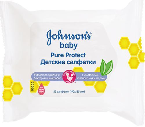 Cалфетки влажные Johnson's baby Pure Protect Детские 25 шт (1)