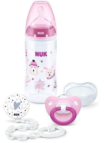 Набор подарочный Nuk 3 предмета: бутылка FС+, пустышка, цепочка Зима Розовый (1)