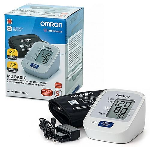 Тонометр Omron M2 Basic (манжета 22-42 см, адаптер) (11)