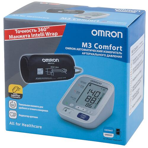 Тонометр Omron M3 Comfort (манжета Intelli Wrap 22-42 см, адаптер) (8)