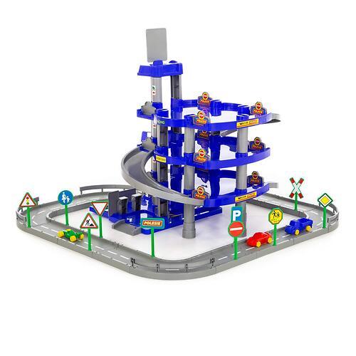 Паркинг Полесье 4-уровневый с дорогой и автомобилями (синий) (в коробке) (6)