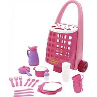 Забавная тележка + набор детской посуды Полесье 31 элемент