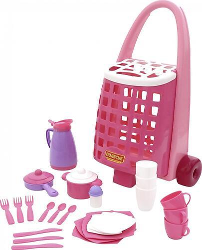 Забавная тележка + набор детской посуды Полесье 31 элемент (3)
