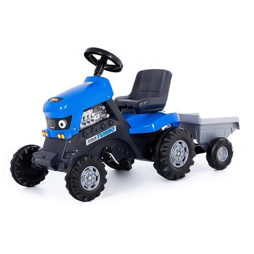 Каталка-трактор с педалями Полесье Turbo Синяя с полуприцепом (6)