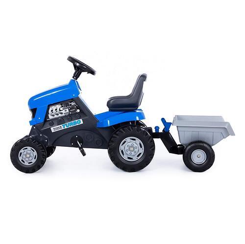 Каталка-трактор с педалями Полесье Turbo Синяя с полуприцепом (7)